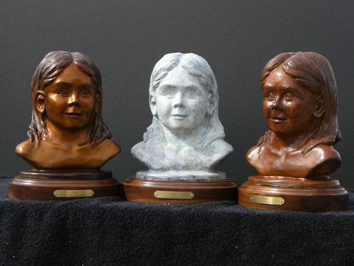 """Clary"" is a portrait sculpture, here shown with 3 different patinas - Copyright by Matt and Judy Montagne"