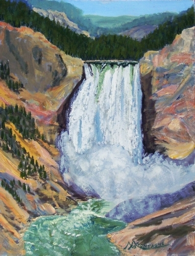 """Yellowstone Falls"" 11x14 SOLD - Copyright 2003 by Matt Montagne"