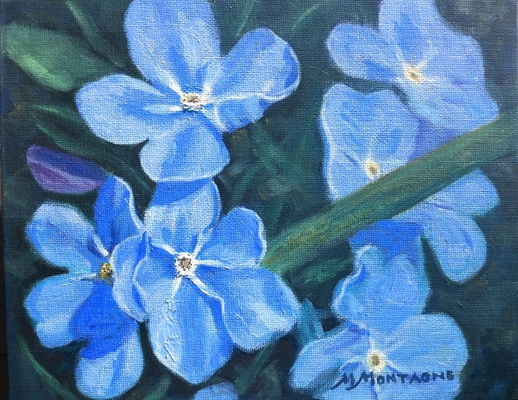 """Forget-me-knots"" 11x14 SOLD - Copyright by Matt and Judy Montagne"